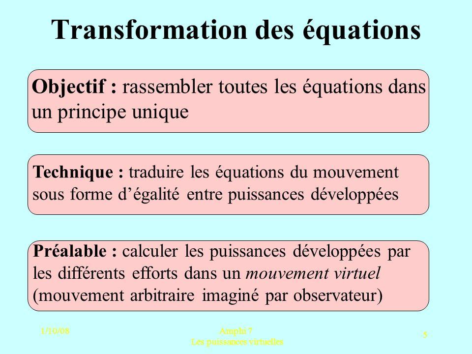 1/10/08Amphi 7 Les puissances virtuelles 5 Transformation des équations Objectif : rassembler toutes les équations dans un principe unique Préalable :