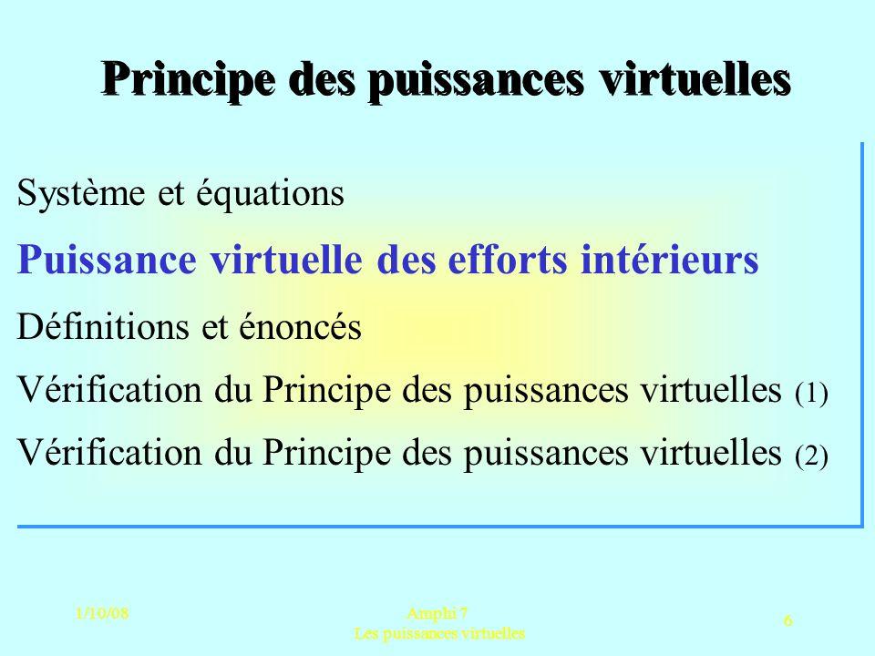 1/10/08Amphi 7 Les puissances virtuelles 6 Principe des puissances virtuelles