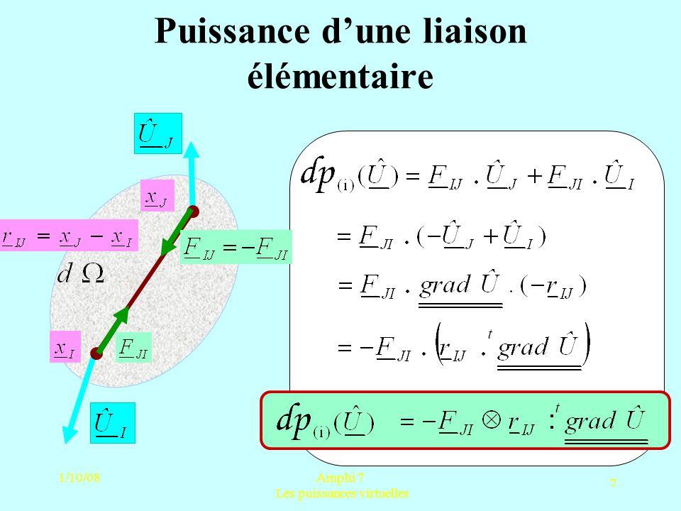 1/10/08Amphi 7 Les puissances virtuelles 7 Puissance dune liaison élémentaire