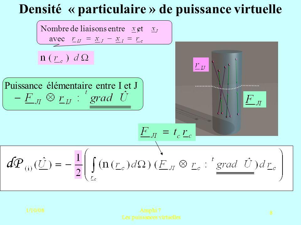 1/10/08Amphi 7 Les puissances virtuelles 8 Densité « particulaire » de puissance virtuelle Puissance élémentaire entre I et J Nombre de liaisons entre
