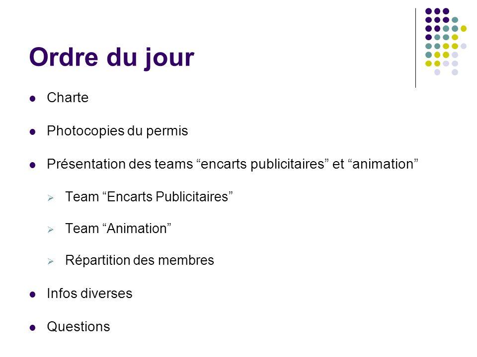 Ordre du jour Charte Photocopies du permis Présentation des teams encarts publicitaires et animation Team Encarts Publicitaires Team Animation Répartition des membres Infos diverses Questions