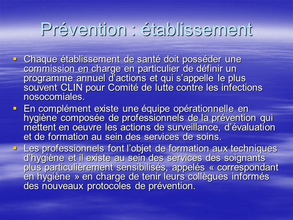 Prévention : établissement Chaque établissement de santé doit posséder une commission en charge en particulier de définir un programme annuel dactions et qui sappelle le plus souvent CLIN pour Comité de lutte contre les infections nosocomiales.