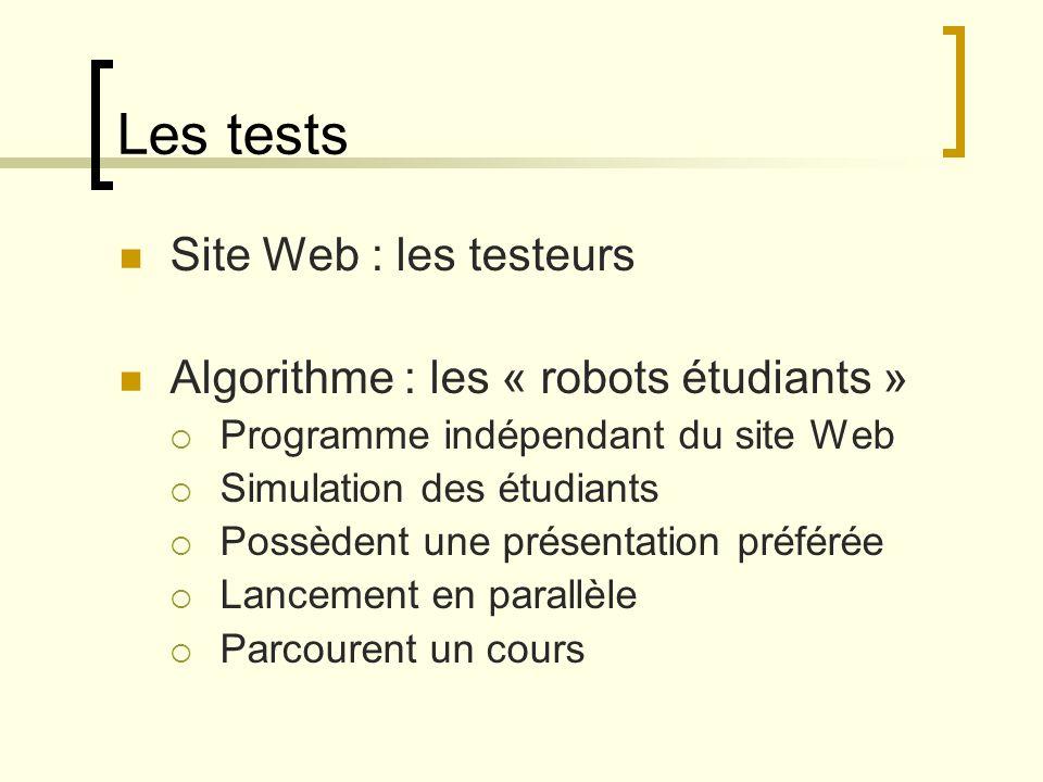 Comportement des robots Possibilité de parcourir plusieurs fois un cours Meilleure réussite pour la présentation préférée Temps passé sur une page Réussite des exercices Echec sur certaines pages du cours
