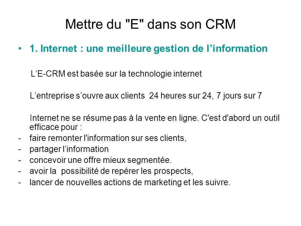 Mettre du E dans son CRM 2 Internet : une meilleure interactivité et une meilleure connaissance du client Internet nest pas seulement un autre canal dinformation : il est surtout le meilleur média pour une relation en one to one avec le client.