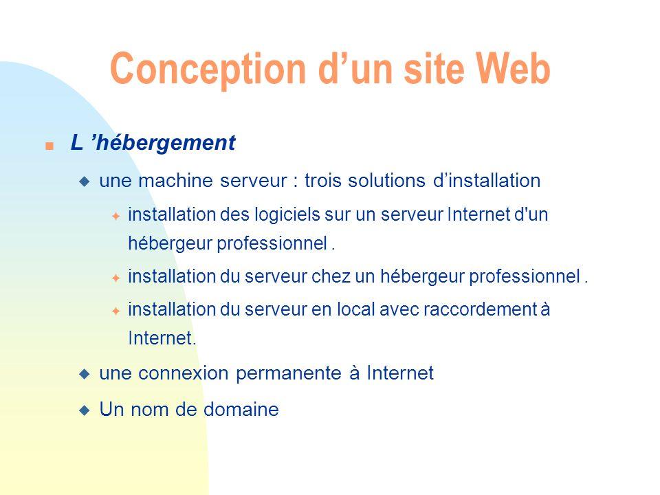 n L hébergement u une machine serveur : trois solutions dinstallation F installation des logiciels sur un serveur Internet d'un hébergeur professionne