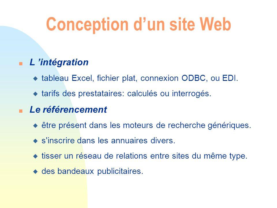 n L intégration u tableau Excel, fichier plat, connexion ODBC, ou EDI. u tarifs des prestataires: calculés ou interrogés. n Le référencement u être pr