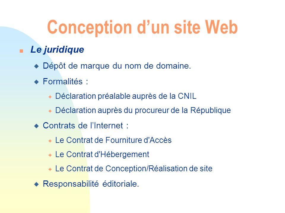 Conception dun site Web n Le juridique u Dépôt de marque du nom de domaine. u Formalités : F Déclaration préalable auprès de la CNIL F Déclaration aup