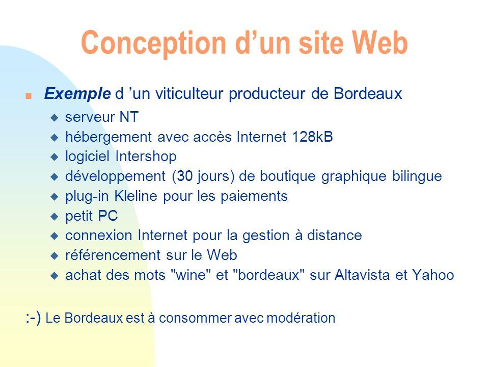 Conception dun site Web n Exemple d un viticulteur producteur de Bordeaux u serveur NT u hébergement avec accès Internet 128kB u logiciel Intershop u