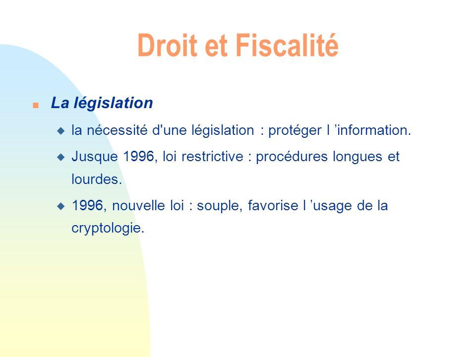 Droit et Fiscalité n La législation u la nécessité d'une législation : protéger l information. u Jusque 1996, loi restrictive : procédures longues et