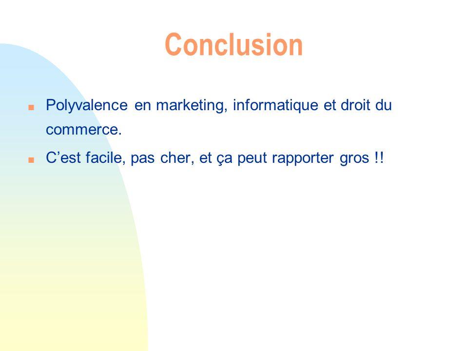 Conclusion n Polyvalence en marketing, informatique et droit du commerce. n Cest facile, pas cher, et ça peut rapporter gros !!