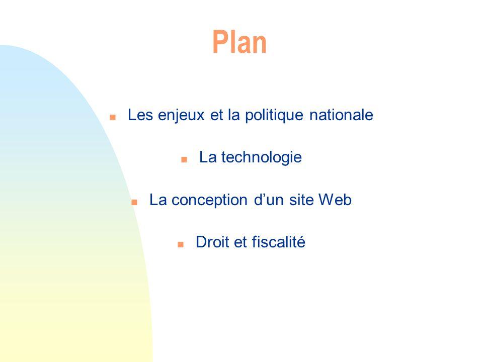Plan n Les enjeux et la politique nationale n La technologie n La conception dun site Web n Droit et fiscalité