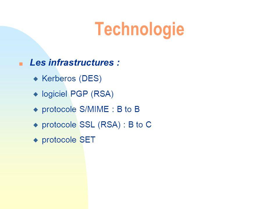 n Les infrastructures : u Kerberos (DES) u logiciel PGP (RSA) u protocole S/MIME : B to B u protocole SSL (RSA) : B to C u protocole SET