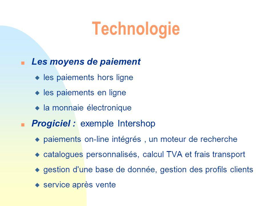 Technologie n Les moyens de paiement u les paiements hors ligne u les paiements en ligne u la monnaie électronique n Progiciel : exemple Intershop u p