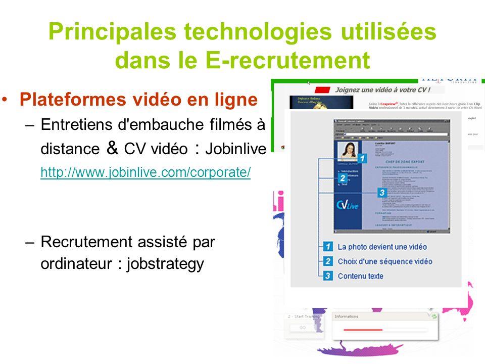3 Principales technologies utilisées dans le E-recrutement Plateformes vidéo en ligne –Entretiens d'embauche filmés à distance & CV vidéo : Jobinlive