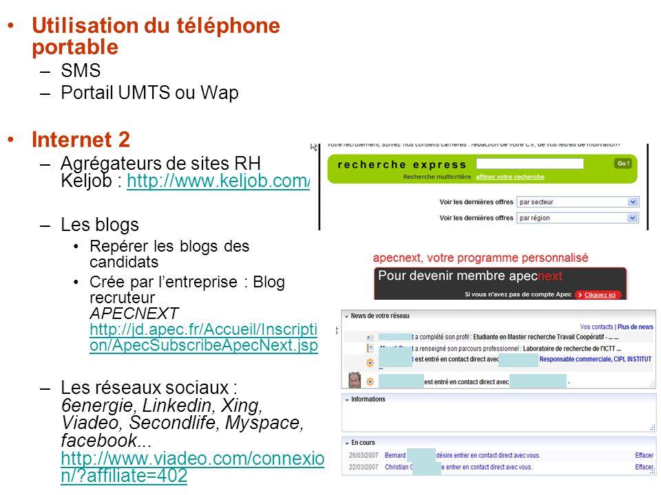 4 Utilisation du téléphone portable –SMS –Portail UMTS ou Wap Internet 2 –Agrégateurs de sites RH Keljob : http://www.keljob.com/http://www.keljob.com