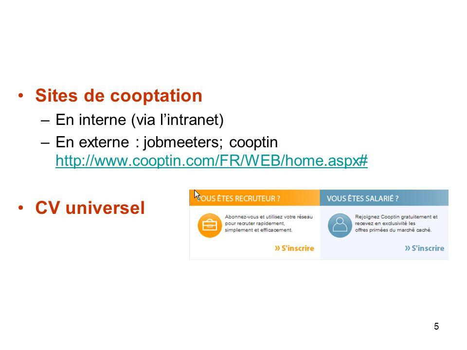 5 Sites de cooptation –En interne (via lintranet) –En externe : jobmeeters; cooptin http://www.cooptin.com/FR/WEB/home.aspx# http://www.cooptin.com/FR