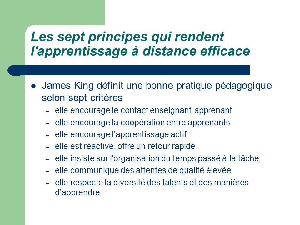 Les sept principes qui rendent l'apprentissage à distance efficace James King définit une bonne pratique pédagogique selon sept critères – elle encour