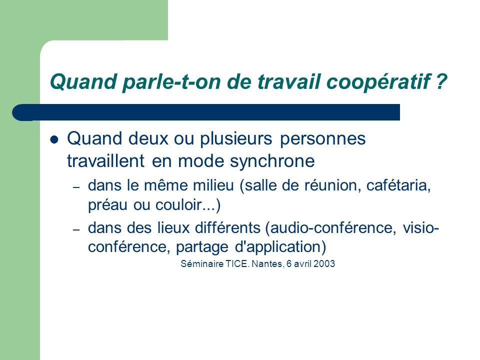 Quand parle-t-on de travail coopératif ? Quand deux ou plusieurs personnes travaillent en mode synchrone – dans le même milieu (salle de réunion, café