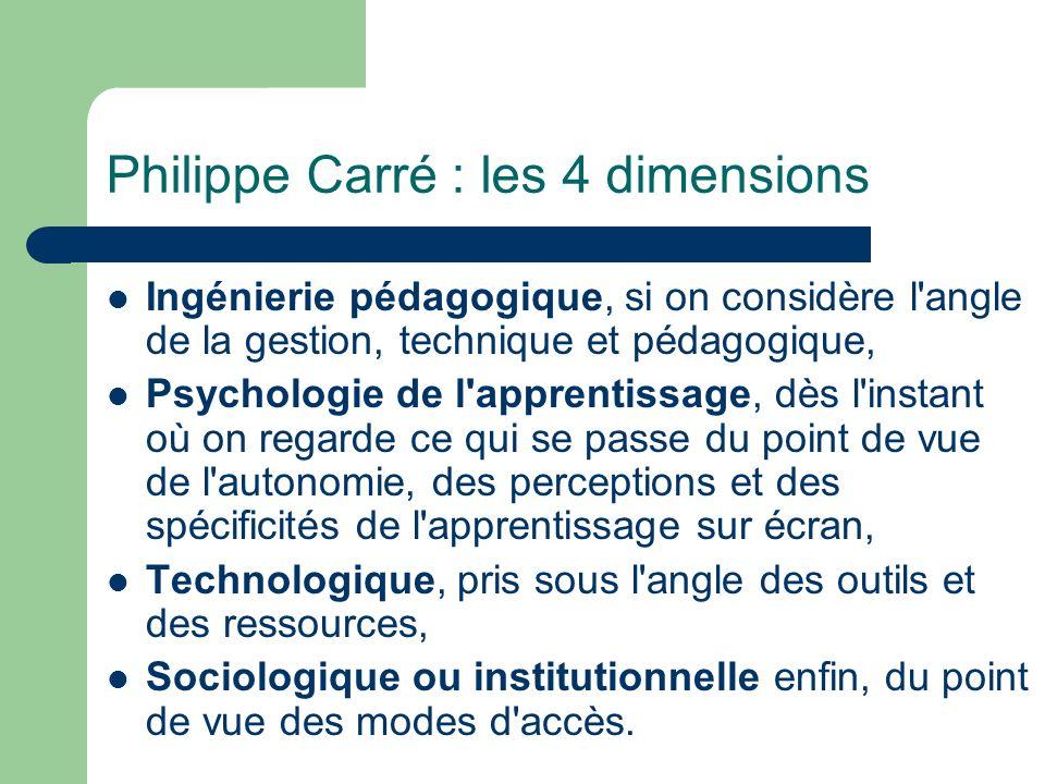 Philippe Carré : les 4 dimensions Ingénierie pédagogique, si on considère l'angle de la gestion, technique et pédagogique, Psychologie de l'apprentiss