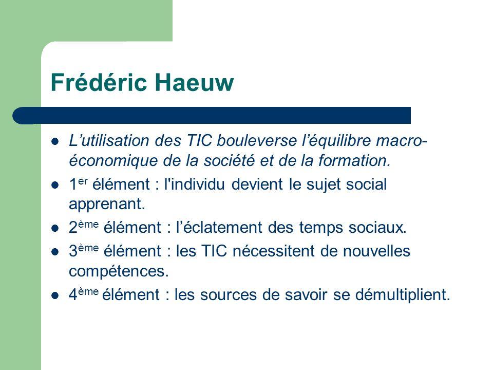 Frédéric Haeuw Lutilisation des TIC bouleverse léquilibre macro- économique de la société et de la formation. 1 er élément : l'individu devient le suj