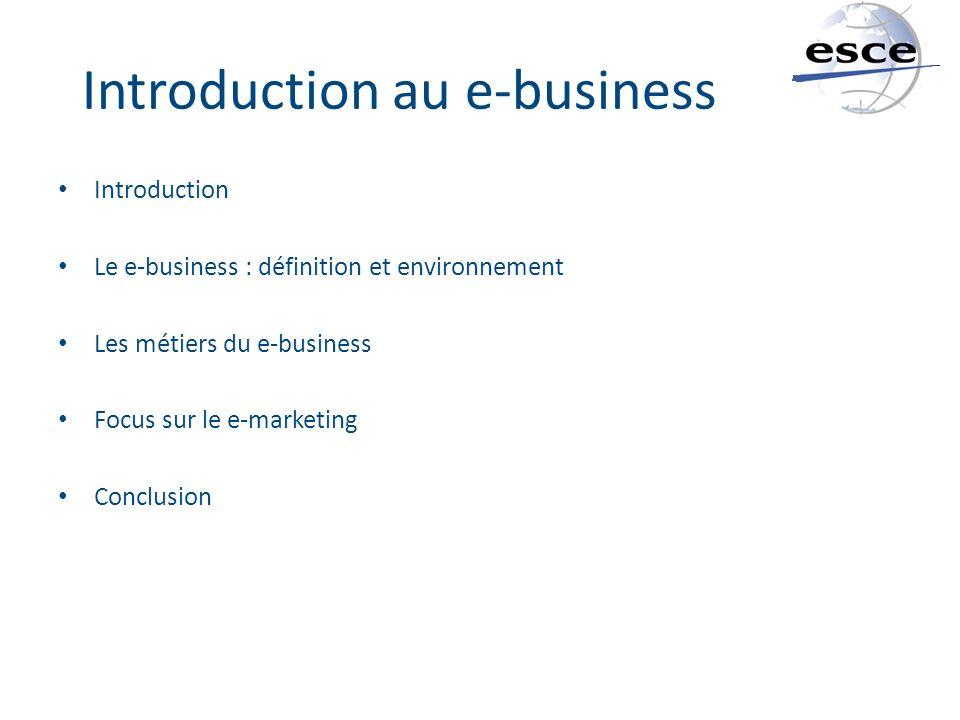 Introduction au e-business Introduction Le e-business : définition et environnement Les métiers du e-business Focus sur le e-marketing Conclusion