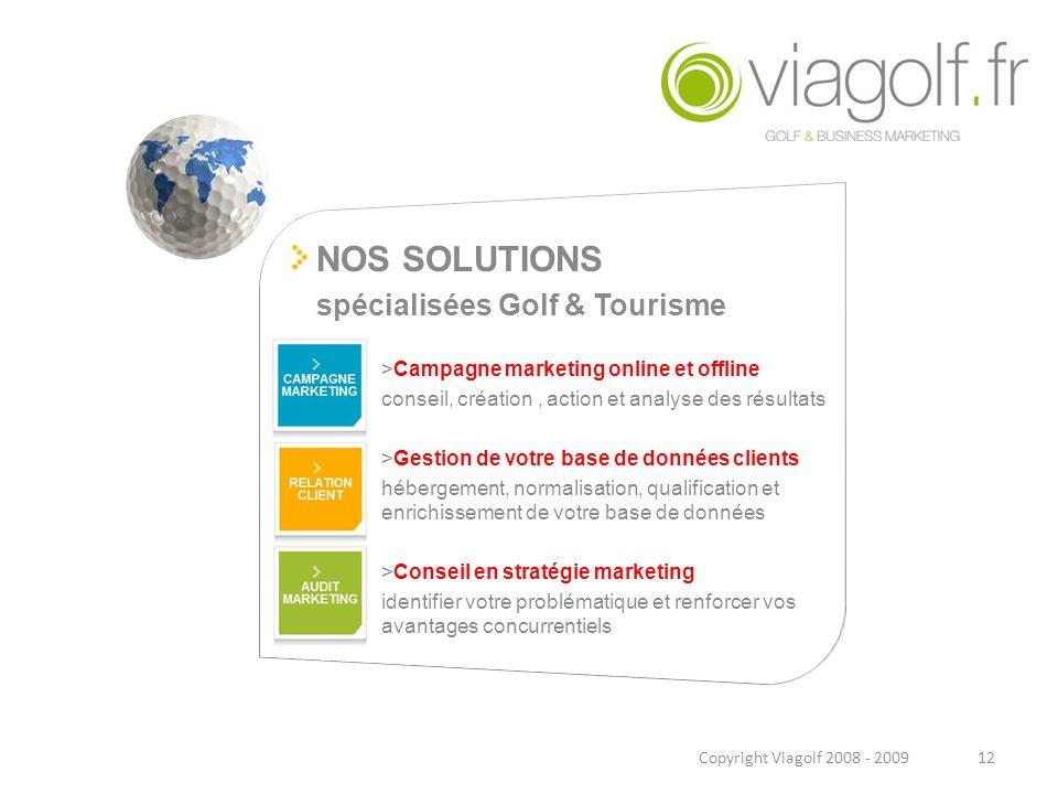 NOS SOLUTIONS spécialisées Golf & Tourisme >Campagne marketing online et offline conseil, création, action et analyse des résultats >Gestion de votre