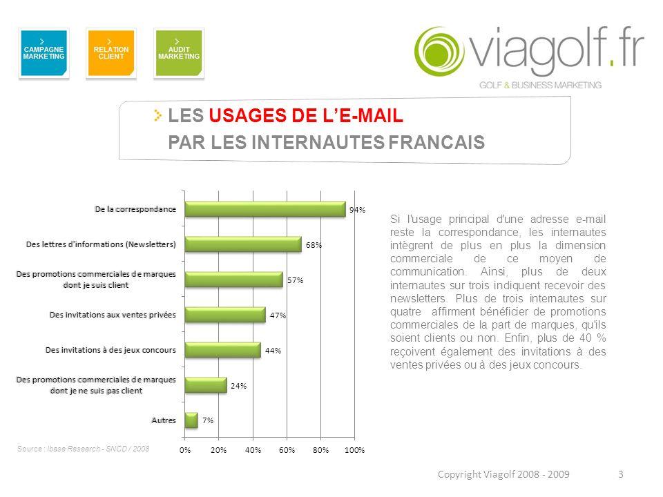 LES USAGES DE LE-MAIL PAR LES INTERNAUTES FRANCAIS 3Copyright Viagolf 2008 - 2009 Si l'usage principal d'une adresse e-mail reste la correspondance, l