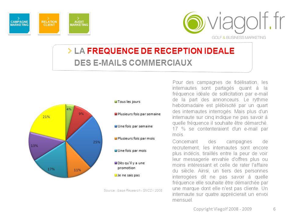 LA FREQUENCE DE RECEPTION IDEALE DES E-MAILS COMMERCIAUX 6 Pour des campagnes de fidélisation, les internautes sont partagés quant à la fréquence idéa