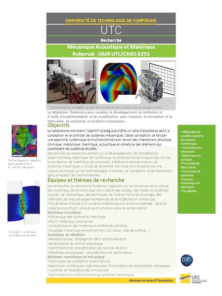 Mécanique Acoustique et Matériaux Roberval - UMR UTC/CNRS 6253 Le laboratoire Roberval a pour vocation le développement de méthodes et doutils d'expér