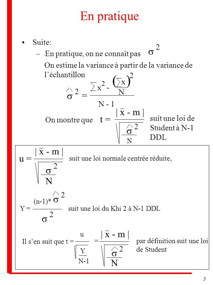 3 En pratique Suite: –En pratique, on ne connaît pas 2 On estime la variance à partir de la variance de léchantillon 2 = x 2 - N N - 1 ) 2 ( On montre