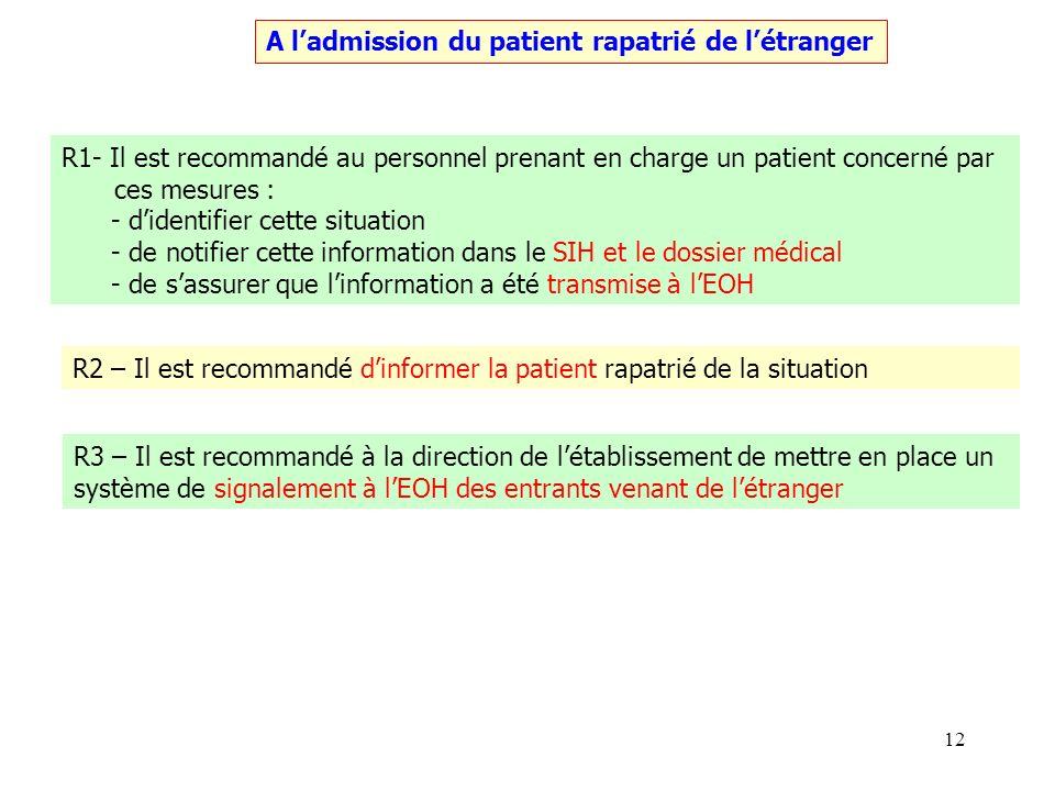 12 A ladmission du patient rapatrié de létranger R1- Il est recommandé au personnel prenant en charge un patient concerné par ces mesures : - didentif