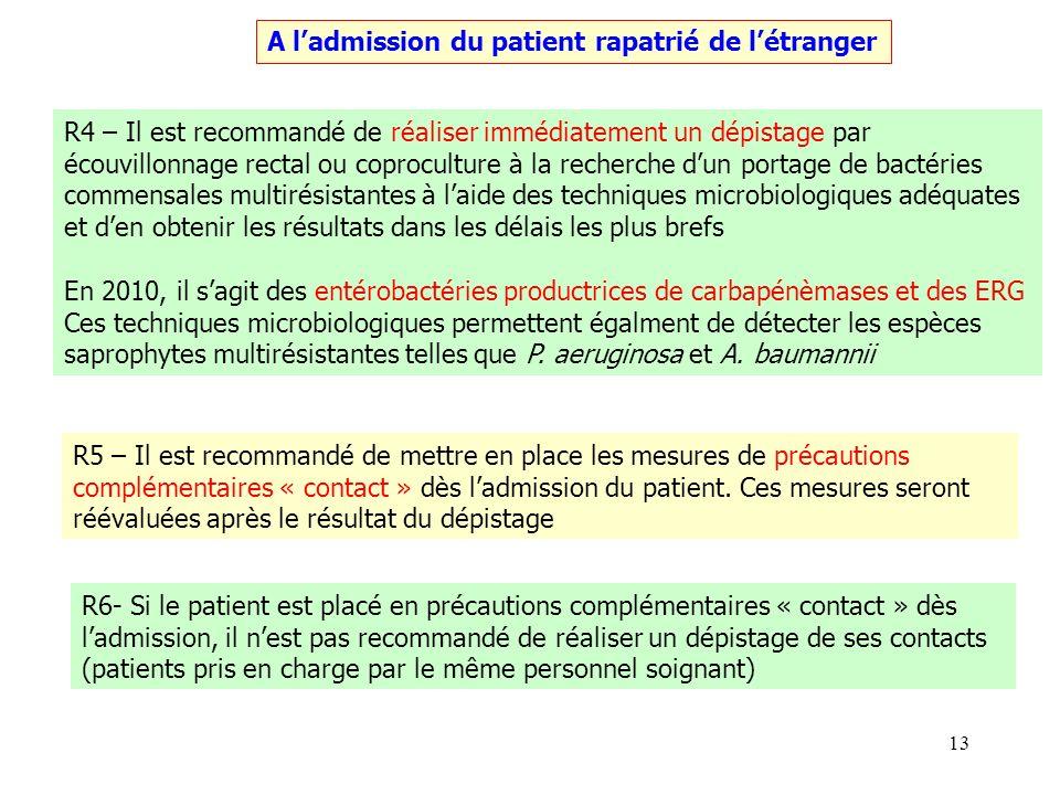 13 A ladmission du patient rapatrié de létranger R4 – Il est recommandé de réaliser immédiatement un dépistage par écouvillonnage rectal ou coprocultu