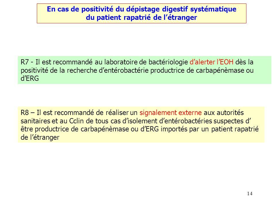 14 En cas de positivité du dépistage digestif systématique du patient rapatrié de létranger R7 - Il est recommandé au laboratoire de bactériologie dal