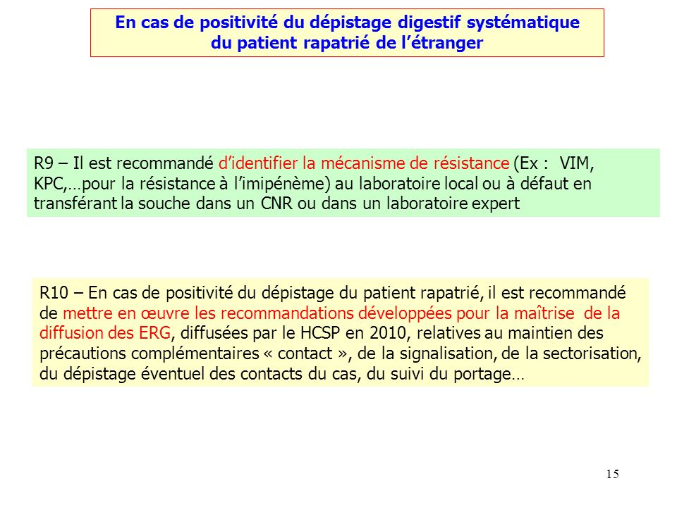 15 En cas de positivité du dépistage digestif systématique du patient rapatrié de létranger R9 – Il est recommandé didentifier la mécanisme de résista