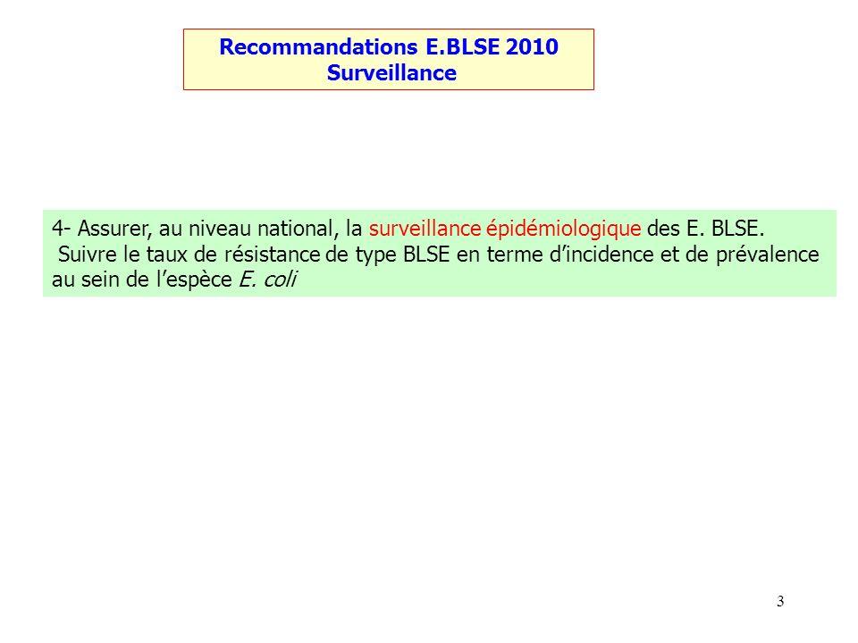 3 Recommandations E.BLSE 2010 Surveillance 4- Assurer, au niveau national, la surveillance épidémiologique des E. BLSE. Suivre le taux de résistance d