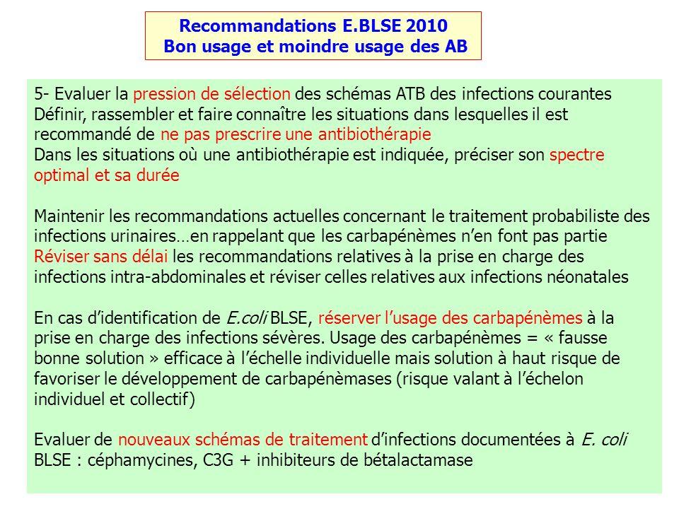 4 Recommandations E.BLSE 2010 Bon usage et moindre usage des AB 5- Evaluer la pression de sélection des schémas ATB des infections courantes Définir,
