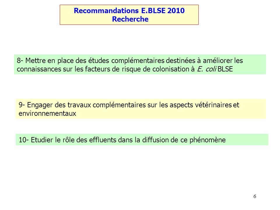 6 Recommandations E.BLSE 2010 Recherche 8- Mettre en place des études complémentaires destinées à améliorer les connaissances sur les facteurs de risq