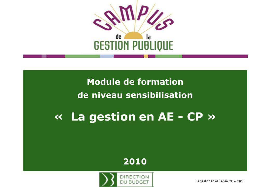 Module de formation de niveau sensibilisation « La gestion en AE - CP » 2010 La gestion en AE et en CP – 2010