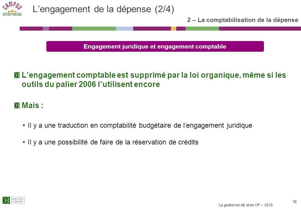 La gestion en AE et en CP – 2010 9 Lengagement de la dépense (1/4) 2 – La comptabilisation de la dépense Lengagement juridique est défini par larticle