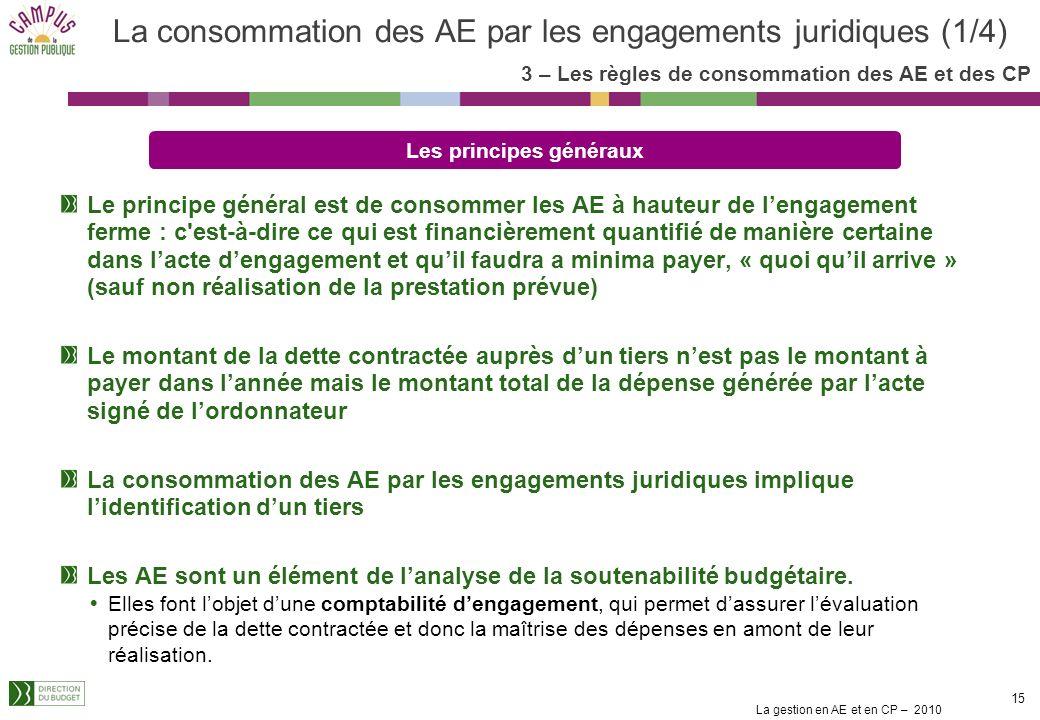 La gestion en AE et en CP – 2010 14 1. Le cadre de la gestion des crédits en mode LOLF Les fondements juridiques La nouvelle présentation des crédits