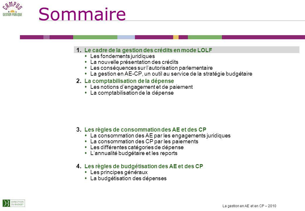 Sommaire La gestion en AE et en CP – 2010 1 1. Le cadre de la gestion des crédits en mode LOLF Les fondements juridiques La nouvelle présentation des