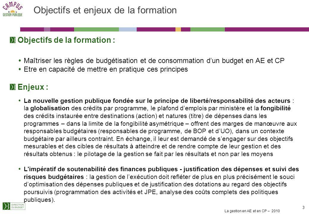 La gestion en AE et en CP – 2010 43 Les dépenses dinvestissement (2/3) Les engagements juridiques correspondants au projet porté par laffectation diminuent le disponible dAE sur le montant affecté au fur et à mesure de leur notification.