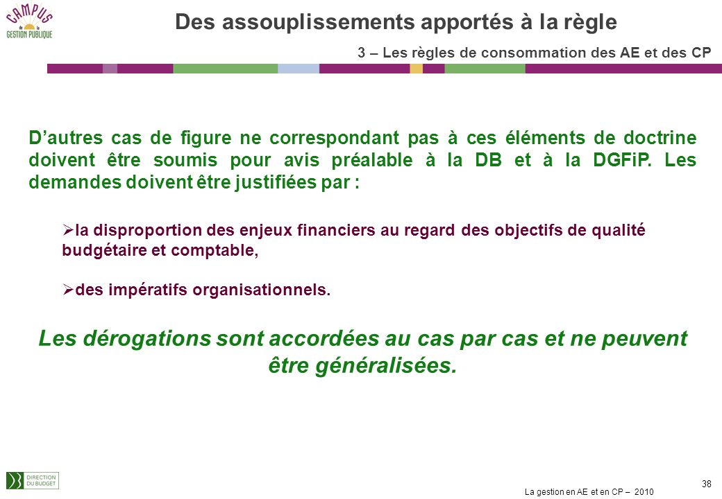 La gestion en AE et en CP – 2010 37 Pas besoin de matérialiser le SF par une transaction dédiée dans Chorus, SF concomitant à la DP sans EJ préalable