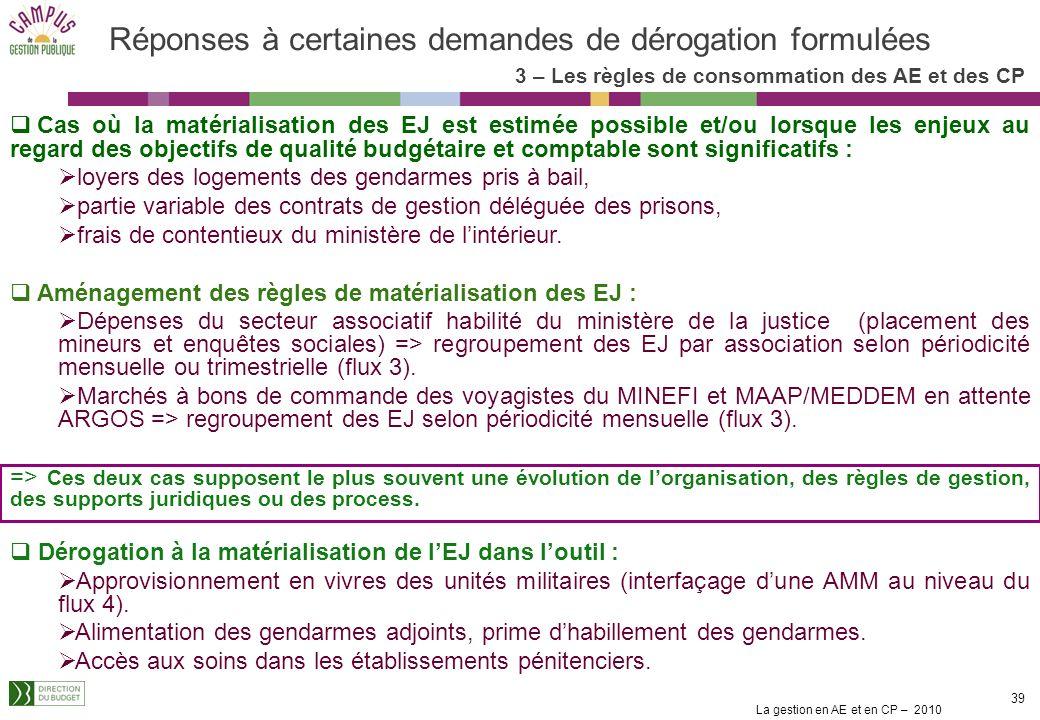 La gestion en AE et en CP – 2010 38 Des assouplissements apportés à la règle Dautres cas de figure ne correspondant pas à ces éléments de doctrine doi