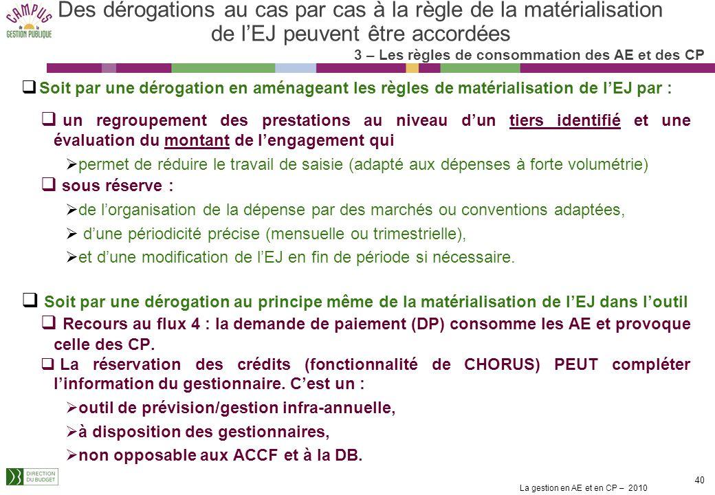 La gestion en AE et en CP – 2010 39 Réponses à certaines demandes de dérogation formulées Cas où la matérialisation des EJ est estimée possible et/ou