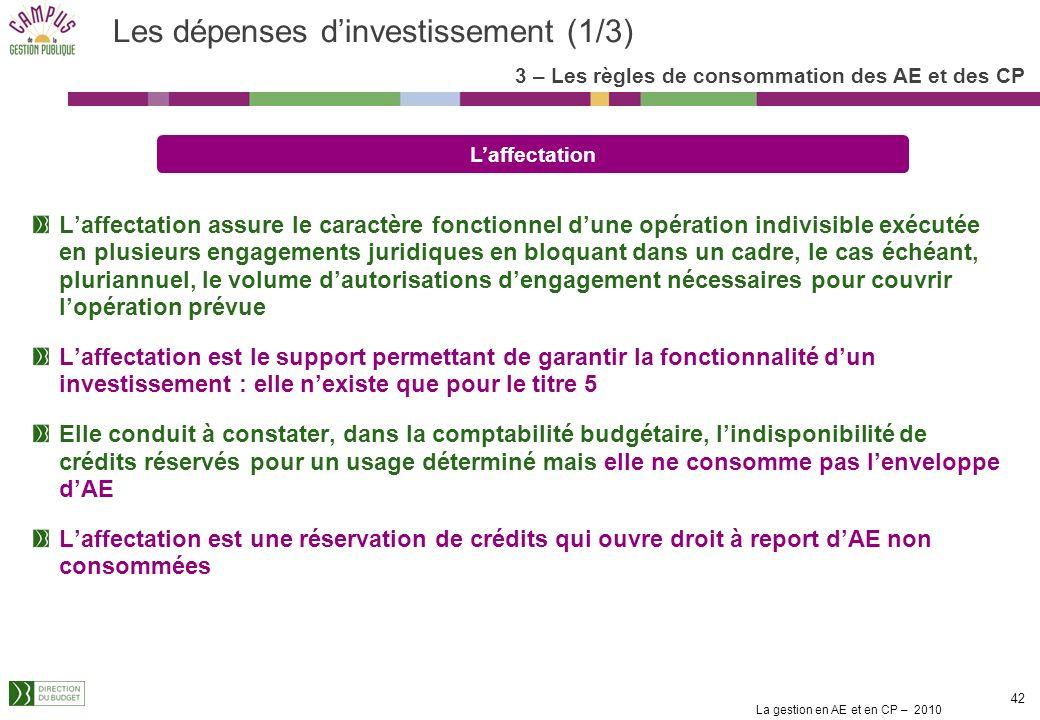 La gestion en AE et en CP – 2010 41 Les réservations de crédits et les affectations La réservation permet didentifier, au sein de lenveloppe globale d