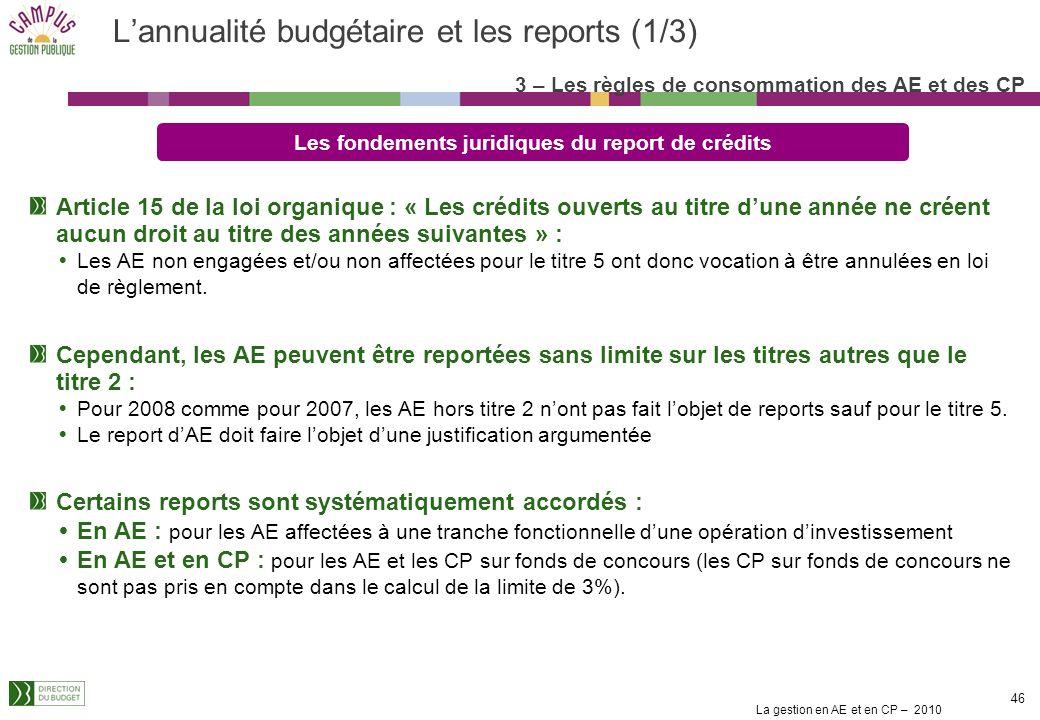 La gestion en AE et en CP – 2010 45 Le retrait dengagement pour tout type de dépenses Le retrait dengagement Le retrait dun engagement lannée au cours