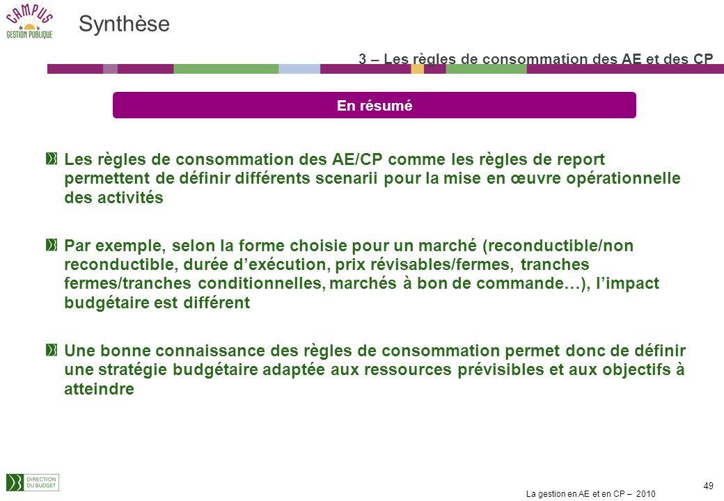 La gestion en AE et en CP – 2010 48 Les CP non consommés en fin dannée sont susceptibles dêtre reportés dans leur totalité vers les titres autres que