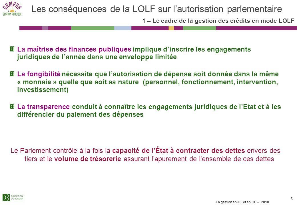 La gestion en AE et en CP – 2010 5 Les fondements juridiques Article 7 de la Loi organique : « Les crédits sont spécialisés par programme ou par dotat
