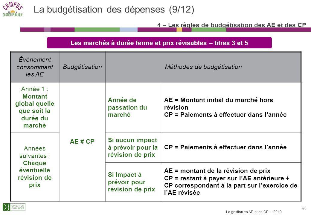 La gestion en AE et en CP – 2010 59 La budgétisation des dépenses (8/12) Les marchés ordinaires reconductibles annuellement – titres 3 et 5 Évènement